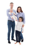 Happy family portrait - father, mother, daughter and son isolate Stock Image