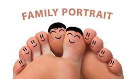 Happy family portrait of finger smileys