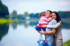 Happy family portrait, outdoors Stock Images