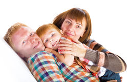 Happy family portrait smiling stock photos