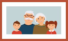 Happy family portrait: smiling grandparents and grandchild in the wooden brown frame vector illustration