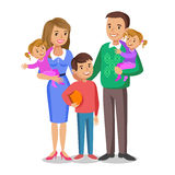 Happy family portrait, smiling parents and kids. Concept happy family, family love. Vector illustration  on white Royalty Free Stock Photo