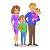 Happy family portrait, smiling parents and kids. Concept happy family, family love. Vector illustration  on white Stock Images