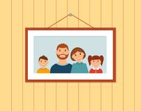 Happy family portrait on the wall royalty free illustration