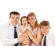 Happy family portrait on a white background Royalty Free Stock Photography