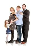 Happy family pregnant mom , dad, older brother and Stock Images
