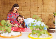 Happy family with pregnant woman Royalty Free Stock Images