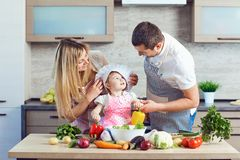 A happy family prepares food from vegetables in the kitchen royalty free stock image