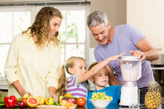 Happy family preparing healthy smoothie Royalty Free Stock Photography