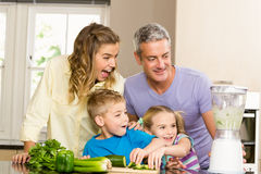 Happy family preparing healthy smoothie Royalty Free Stock Image