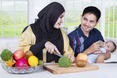 Happy Family Preparing Healthy Superfood Stock Photos