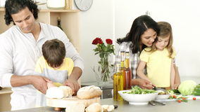 Happy family preparing a meal in the kitchen. Footage in high definition of happy family preparing a meal in the kitchen stock footage
