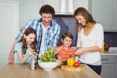 Happy family preparing vegetable salad. In kitchen Stock Photo