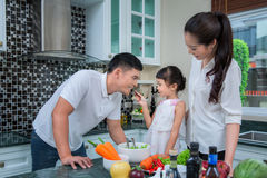 Happy family preparing vegetables together Stock Photography