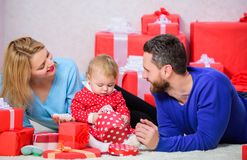 Happy family with present box. Valentines day. Red boxes. Shopping. Boxing day. Love and trust in family. Bearded man royalty free stock photo