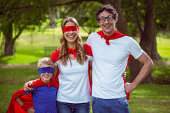 Happy family pretending to be superhero Royalty Free Stock Image