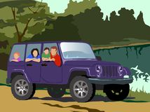 Vector illustration.Happy family in a purple car royalty free illustration