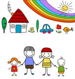 Happy family and rainbow Stock Photography