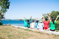 Happy family raise up hands, Happiness, Travel lifestyle concept Stock Images