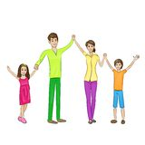 Happy family raised arms up four people Royalty Free Stock Images