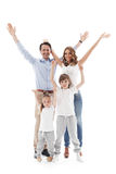 Happy family with raised hands Royalty Free Stock Image