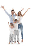 Happy family with raised hands Stock Images