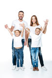 Happy family with raised hands Royalty Free Stock Images