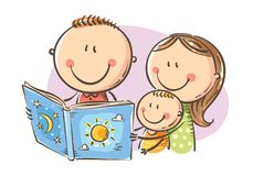 Happy family reading a book together, vector illustration. Cartoon mother, father and son reading a book together, Vector, Childs Drawing vector illustration