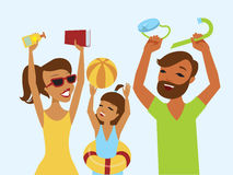 Happy family ready for summer holiday Royalty Free Stock Photos