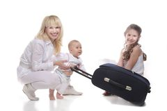 Happy family ready for travels Royalty Free Stock Photos