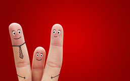 A happy family on red background Stock Photo