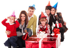Happy family with red gift box. Royalty Free Stock Image