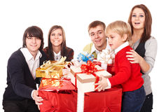 Happy family with red gift box. Stock Photos