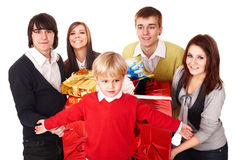 Happy family with red gift box. Stock Photography