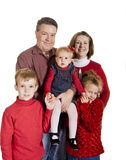 Happy Family in Red on White stock image