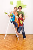 Happy family before redecorating their home Royalty Free Stock Photography