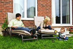Happy family relaxing at home Stock Photo