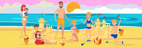 Family on beach. Playing with sand. Rest on sea. vector illustration