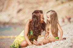 Happy family resting at beach in summer Royalty Free Stock Images