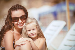 Happy family resting at beach in summer Royalty Free Stock Photography