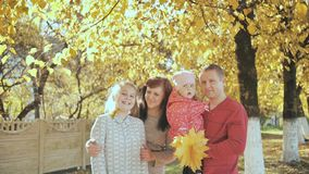 Happy family resting in beautiful autumn park stock footage