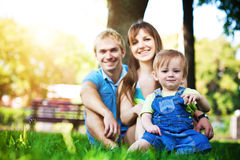 Happy family resting in the summer park. picnic Stock Images