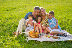 Happy family resting at the weekend. Royalty Free Stock Images