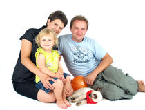 Happy family reunion. Happy family portrait isolated on white Stock Photos