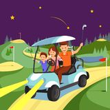 Happy Family Ride by Cart on Golf Course at Night