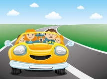 Happy family rides in the car Royalty Free Stock Image
