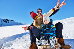 The happy family rides the sledge in the winter wood, cheerful winter entertainments Stock Images