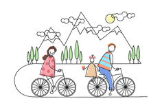 Happy Family Riding Bicycle, Bikes Over Mountains, Parents With Child Royalty Free Stock Photo