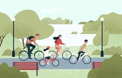 Happy family riding bicycles. Joyful mother, father, daughter and son on bikes at park. Parents and kids cycling. Together. Recreational outdoor activity royalty free illustration
