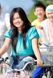 Happy family riding bikes Royalty Free Stock Photography